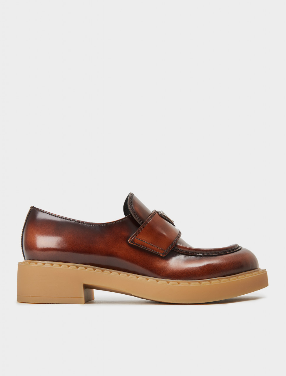 242-1D246M-P39-F0005-F-050 PRADA PENNY LOAFER IN TABACCO