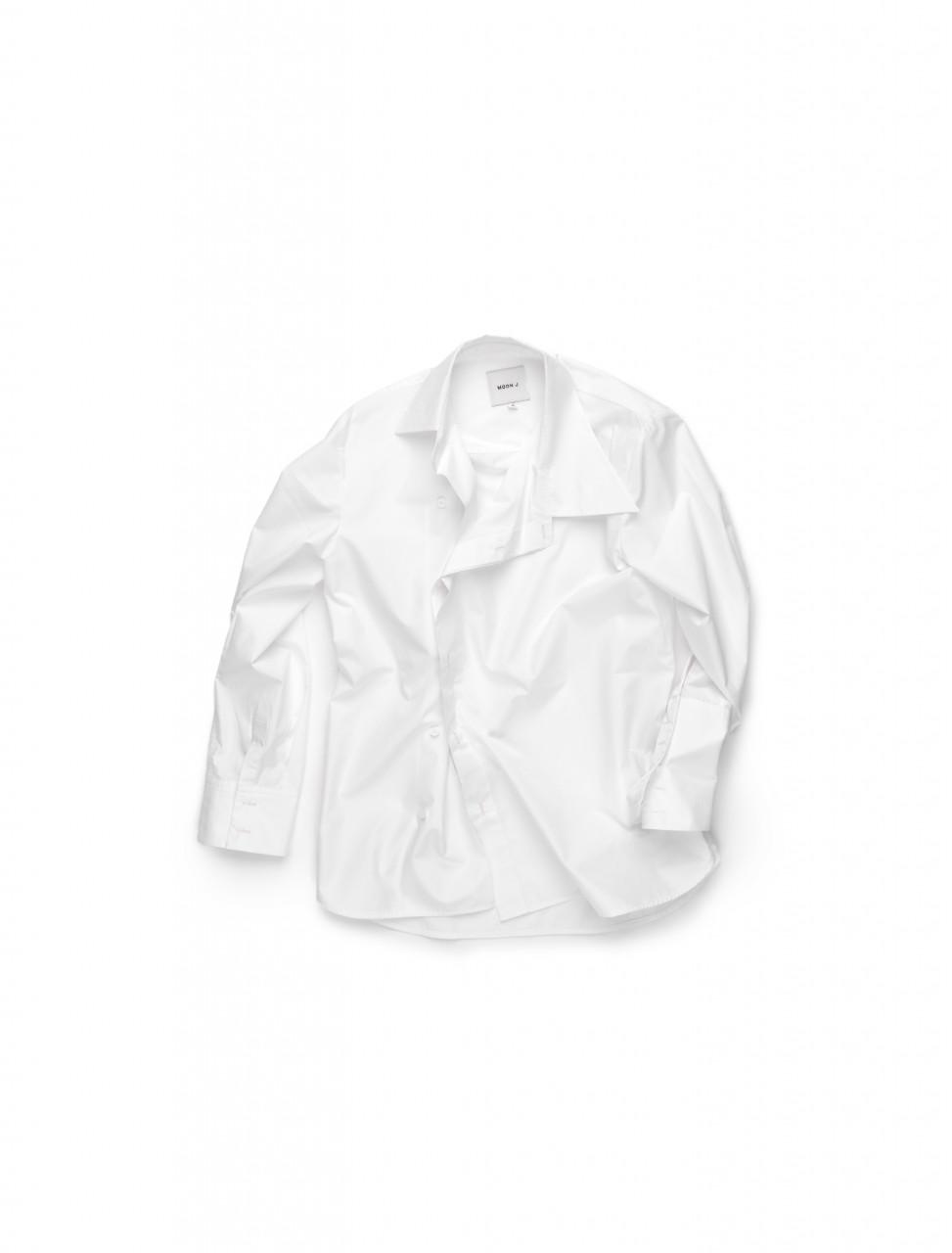 351-203-CS-11224 MOON J ASYMMETRIC COTON SHIRT WHITE