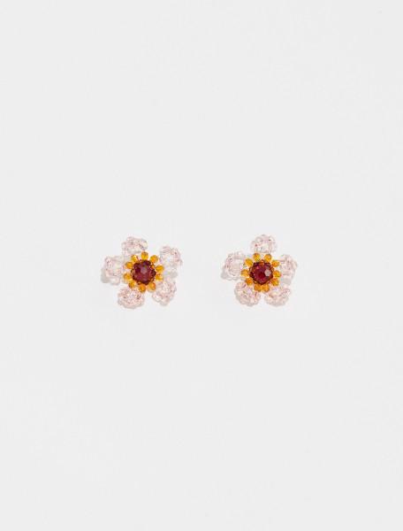 ERG280 0903 SIMONE ROCHA CRYSTAL FLOWER EARRING IN PINK