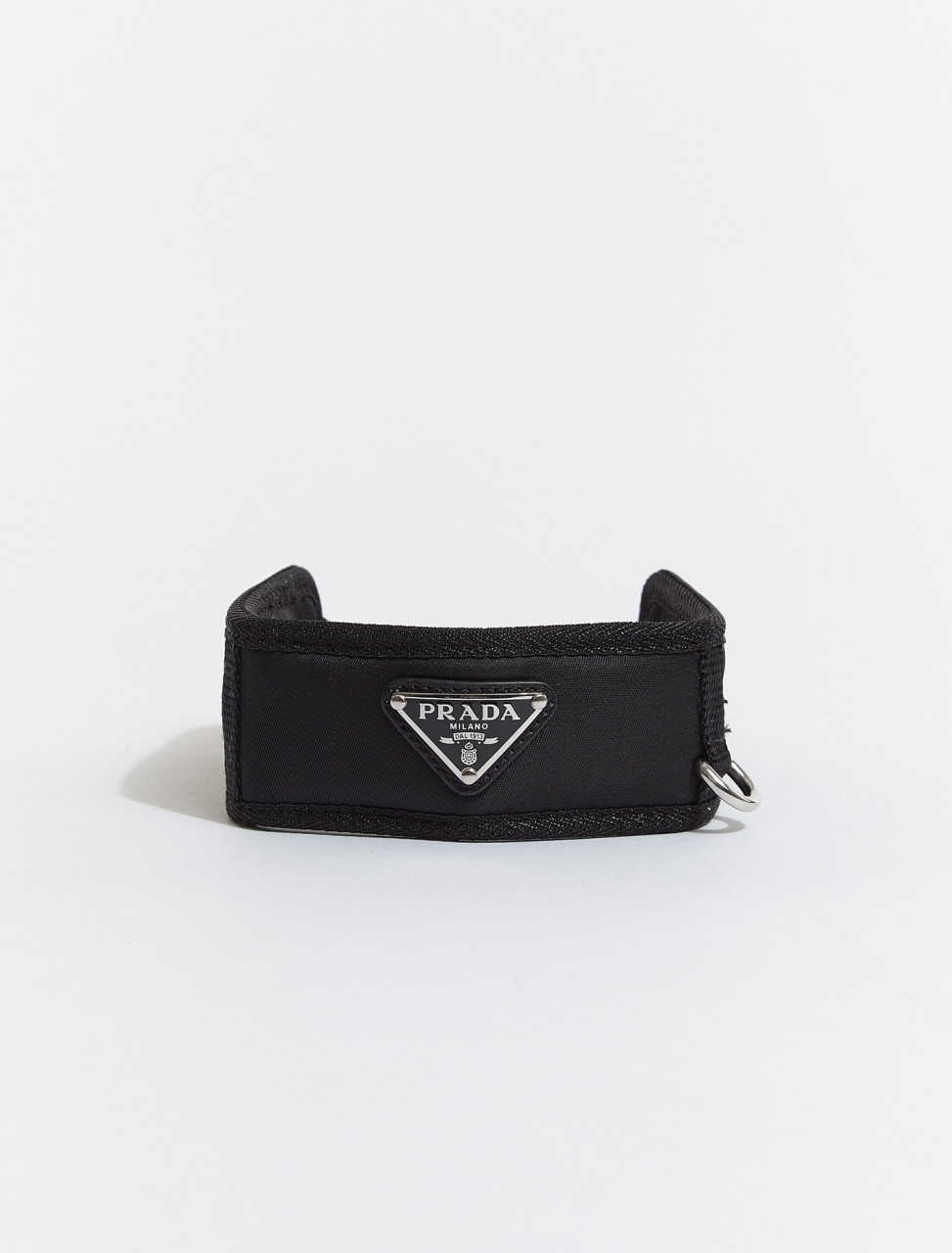 2YC016-F0002 PRADA BUCKLED NYLON LOGO PET COLLAR IN BLACK