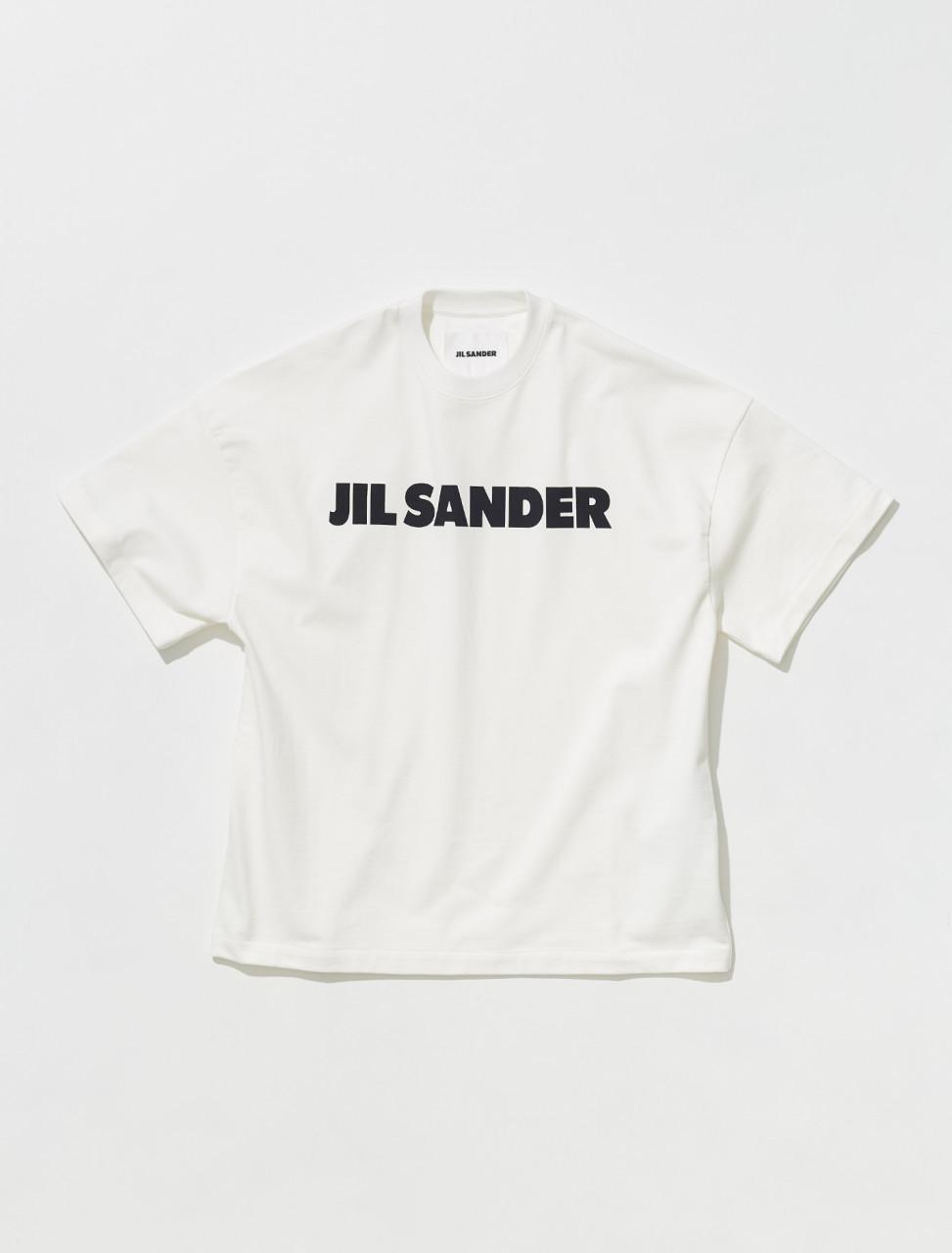 JSMT707045_MT248508_102 JIL SANDER SHORT SLEEVED LOGO T SHIRT IN NATURAL