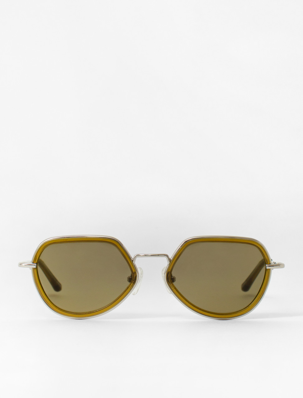 Steel Frame Sunglasses in Olive Green