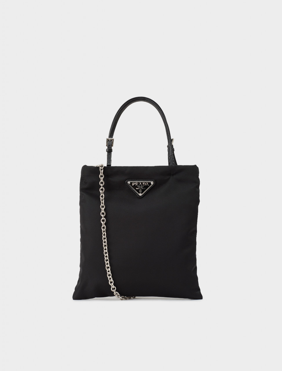 242-1BA252-074-F0002-V-OWL PRADA NYLON TOTE BAG WITH LEATHER HANDLES IN BLACK
