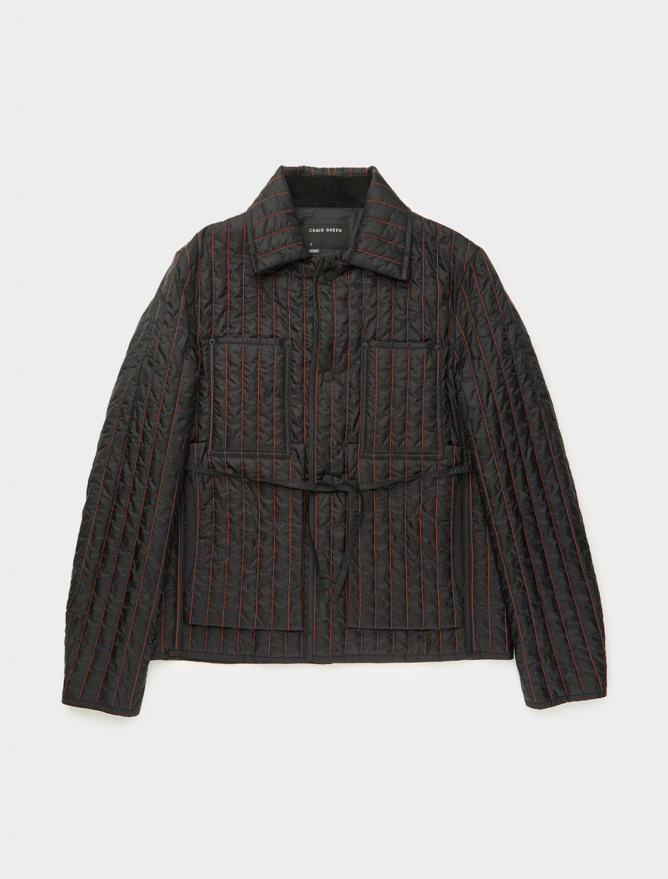 CGAW20CWOJKT0 CRAIG GREEN QUILTED WORKER JACKET IN BLACK AND RED FRONT