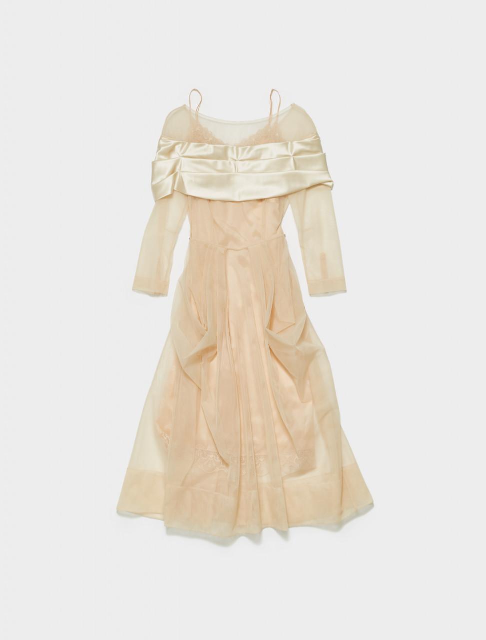 290-7011-0069 SIMONE ROCHA PLEATED POCKET DRESS NUDE CREAM