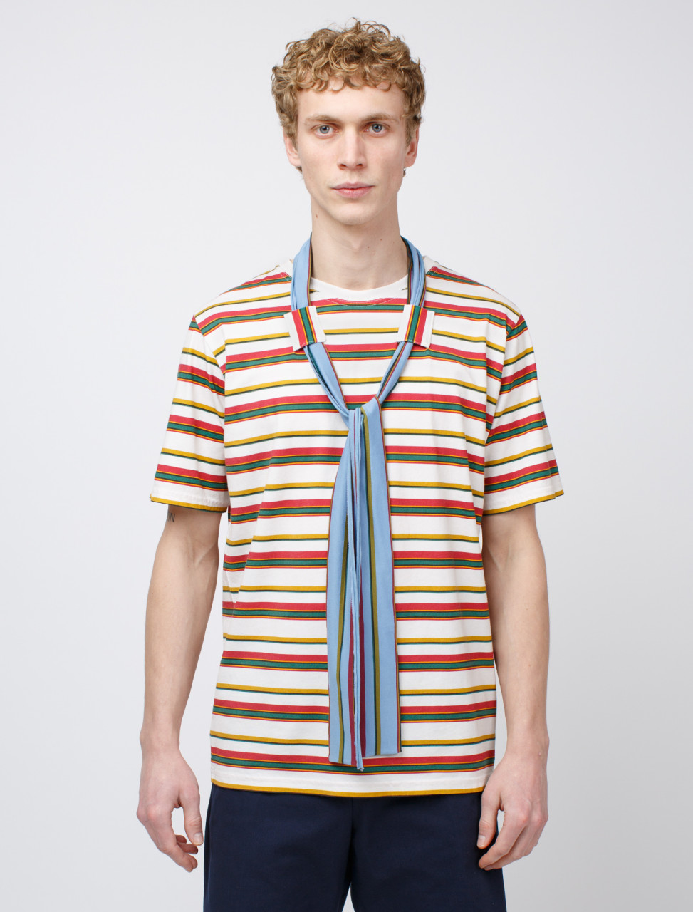 Printed Stripe and Tie Short Sleeve Shirt