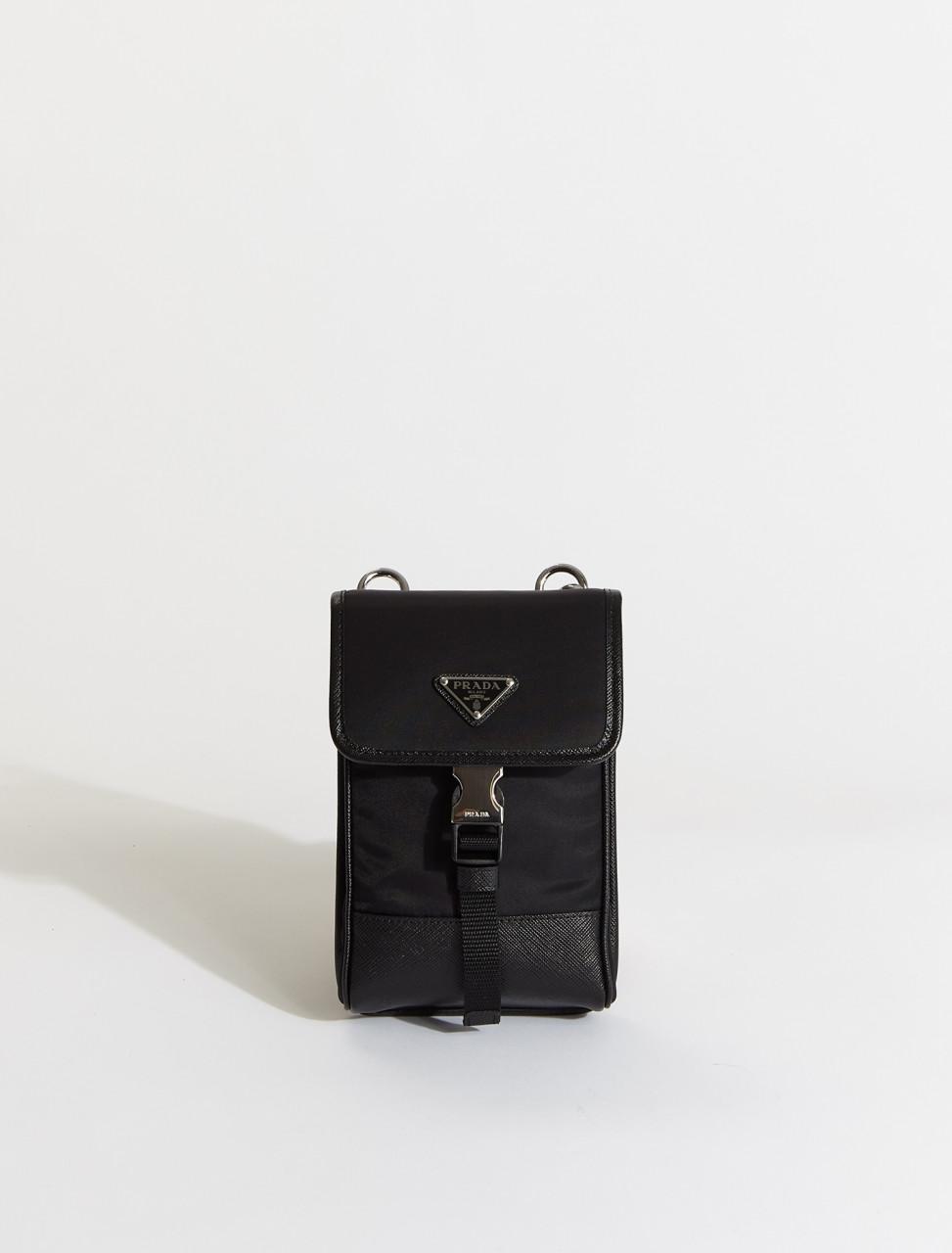 2ZH109-F0002 PRADA Nylon and Leather Smartphone Case in Black