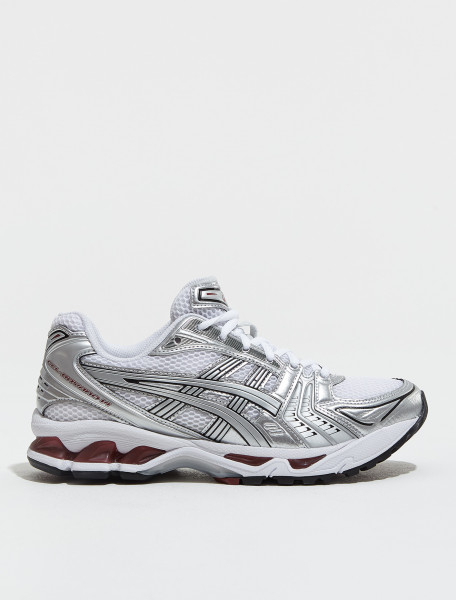1201A019 104 ASICS GEL KAYANO 14 SNEAKER IN WHITE & PURE SILVER