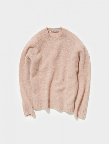 B60208 BKY FN MN KNIT000278 ACNE STUDIOS KOWHAI BRUSHED WOOL CREW NECK IN PASTEL PINK