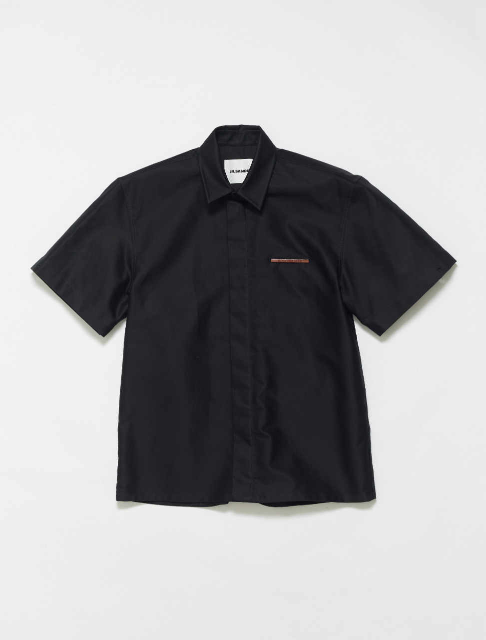 JSMS740626-MS241000-001 JIL SANDER SHORT SLEEVED SHIRT WITH PIN DETAIL BLACK