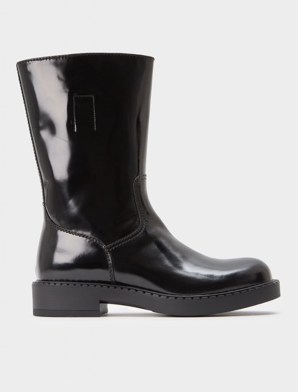242-2UE012-P39-F0002 PRADA BRUSHED LEATHER MID CALF BOOTS