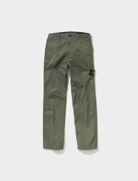 MO751530310_V0055 STONE ISLAND STRETCH GABARDINE PANTS IN SAGE GREEN