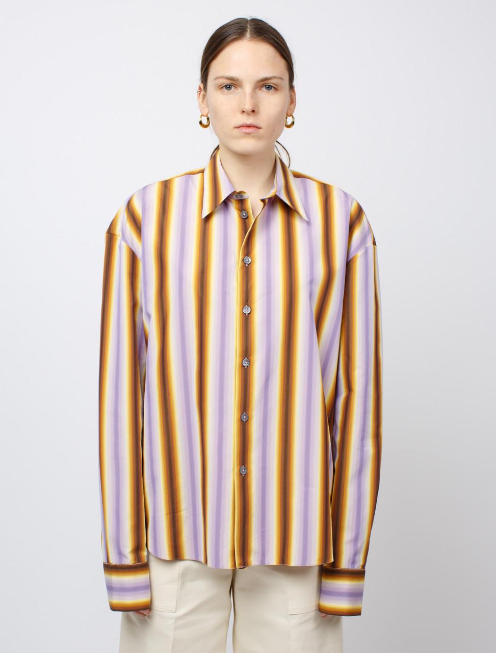 Polo Collar Striped Shirt