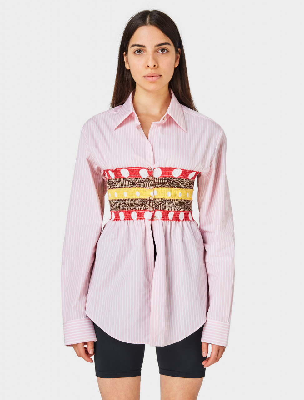Front of Super YAYA Bustier Shirt in Pink Stripe