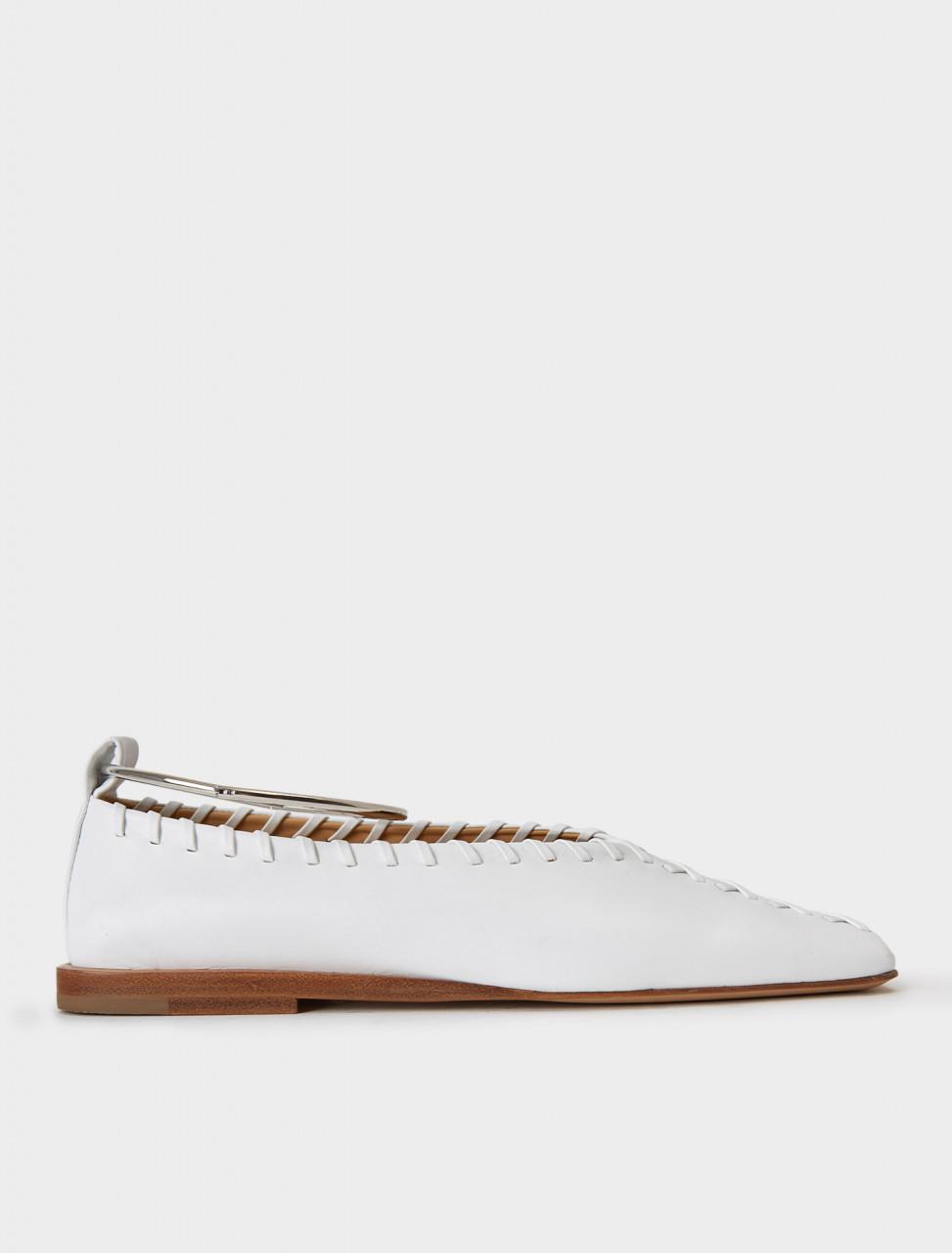 130-JS30217A-12012-100 JIL SANDER Anklet Ballerina Flat in White