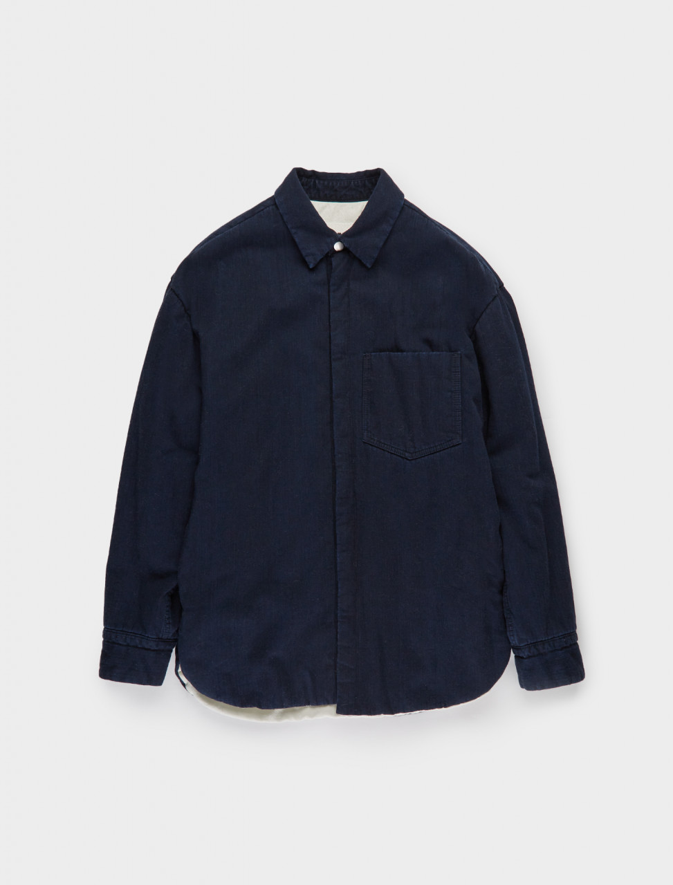 130-JPUR667430-MR246100-402 JIL SANDER Padded Shirt in Dark Blue