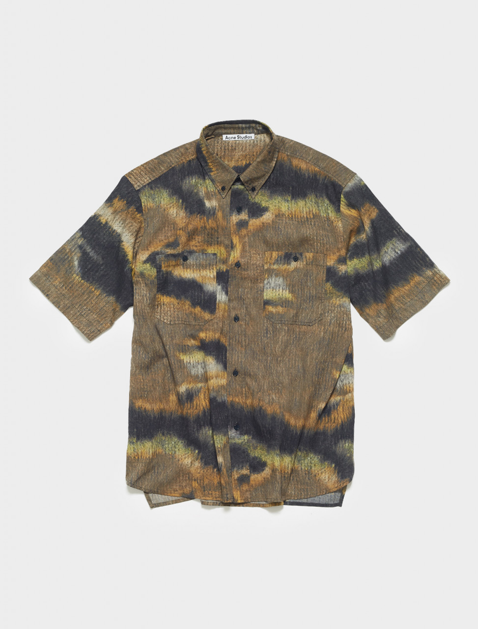 BB0358-AHB ACNE STUDIOS SANPER FUR SHORT SLEEVE SHIRT IN BROWN BLACK