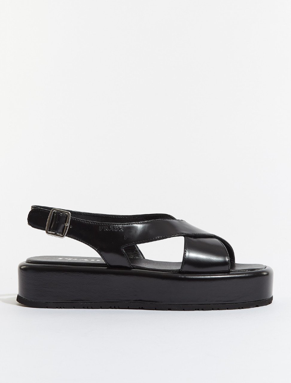 1XZ743-F0002 PRADA WEDGE LEATHER SANDALS IN BLACK