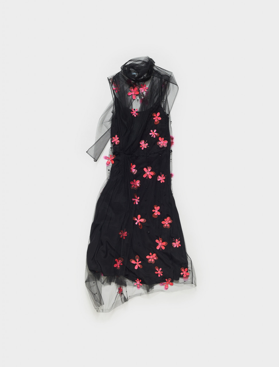 P37H5R-1SQ9-F0T79 PRADA EMBROIDED TULLE DRESS