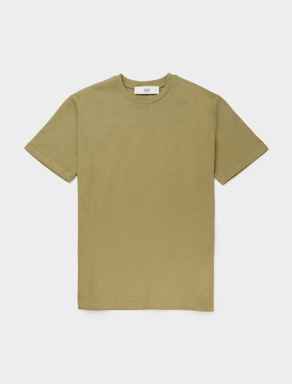 Front view of Séfr Clin Tee in Herb Green