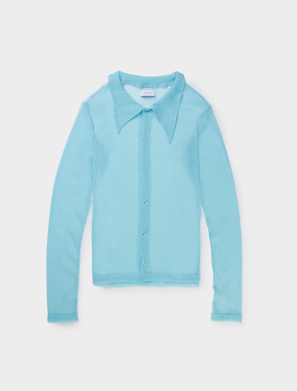 LAZOSCHMIDL Semi Sheer Amanda Button Up Shirt in Blue