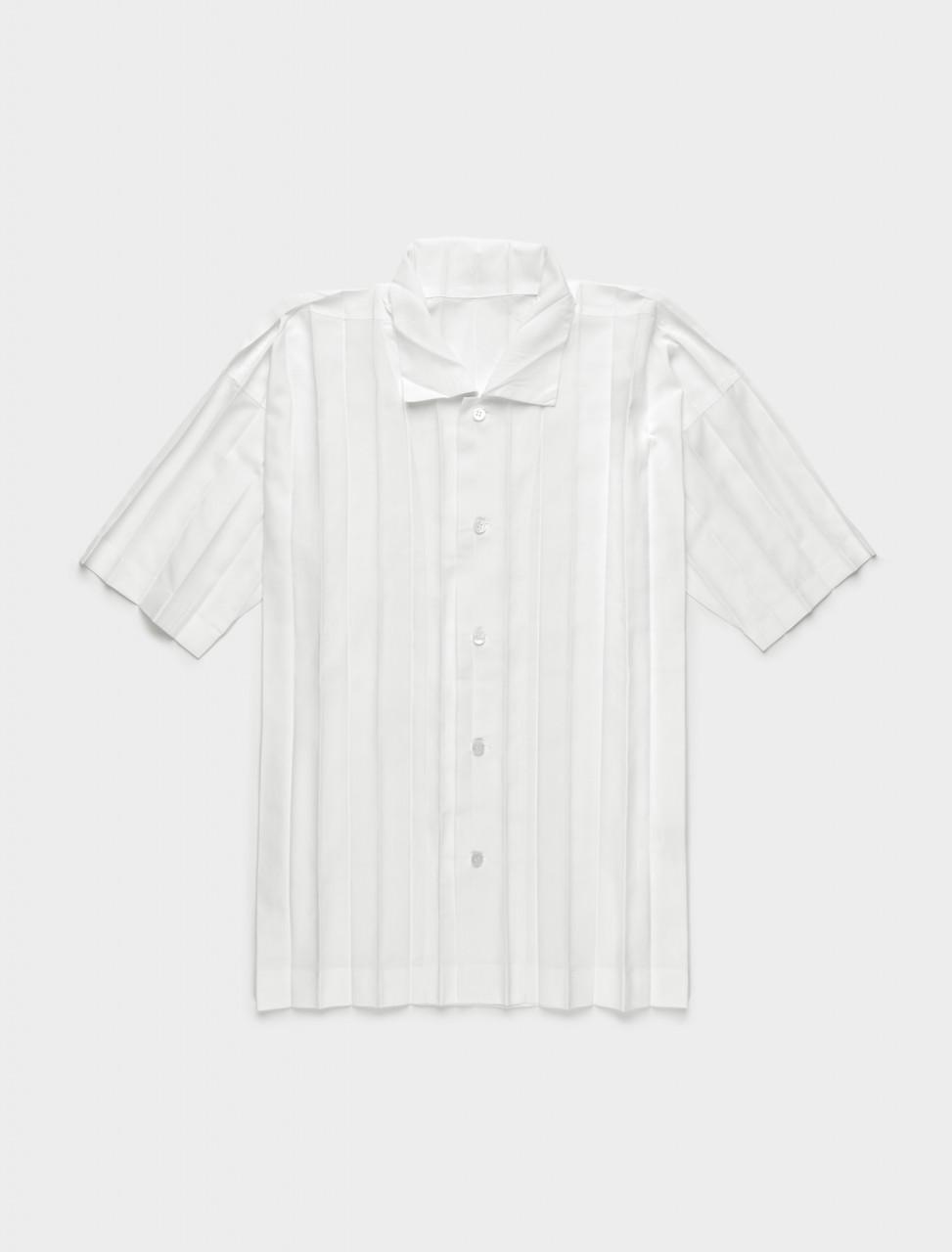 255-HP09FJ015-01 ISSEY MIYAKE HOMME PLISSE PLEATED EDGE SHIRT WHITE