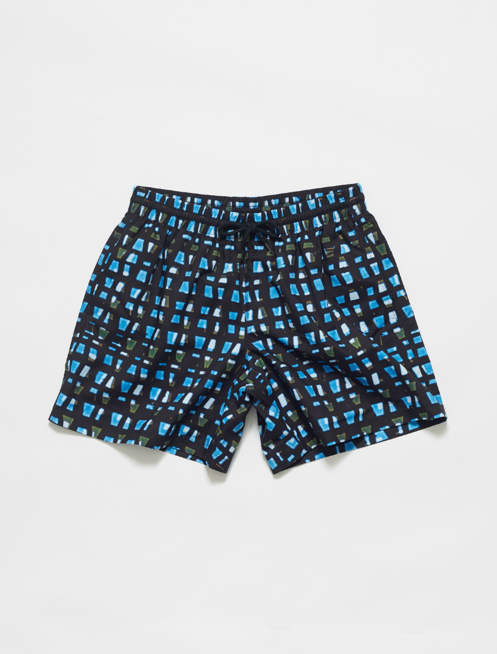 211-20938-2236-504 DRIES VAN NOTEN PHIBBS LEN LYE PIXEL PRINT SWIM SHORTS IN BLUE