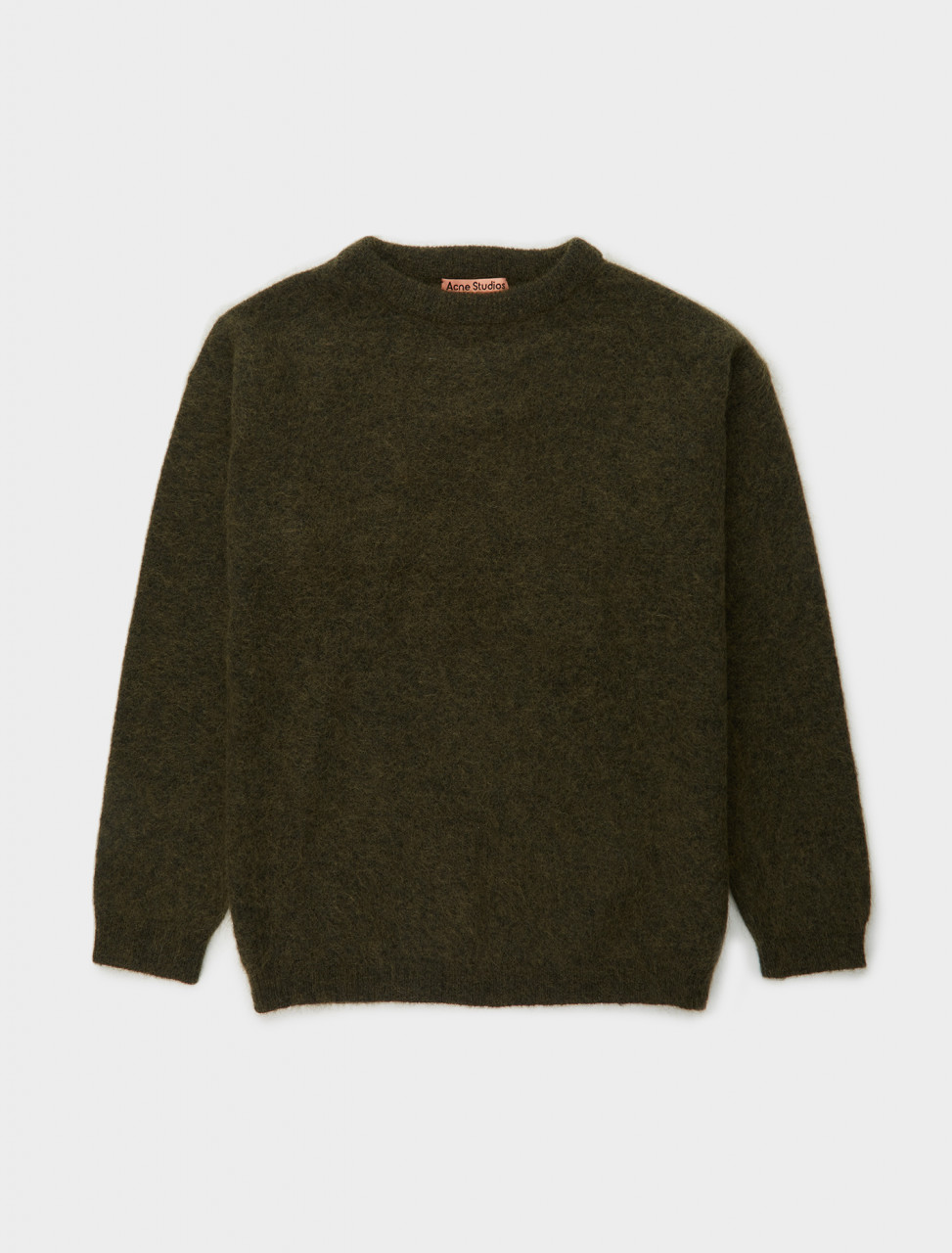110-A60195-AB7 ACNE STUDIOS CREWNECK SWEATER IN OLIVE GREEN