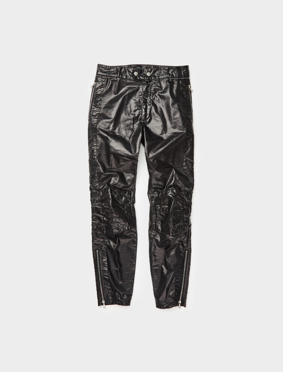 260-202-20930-1176-900 DRIES VAN NOTEN PELGRAVE COATED COTTON TROUSERS BLACK