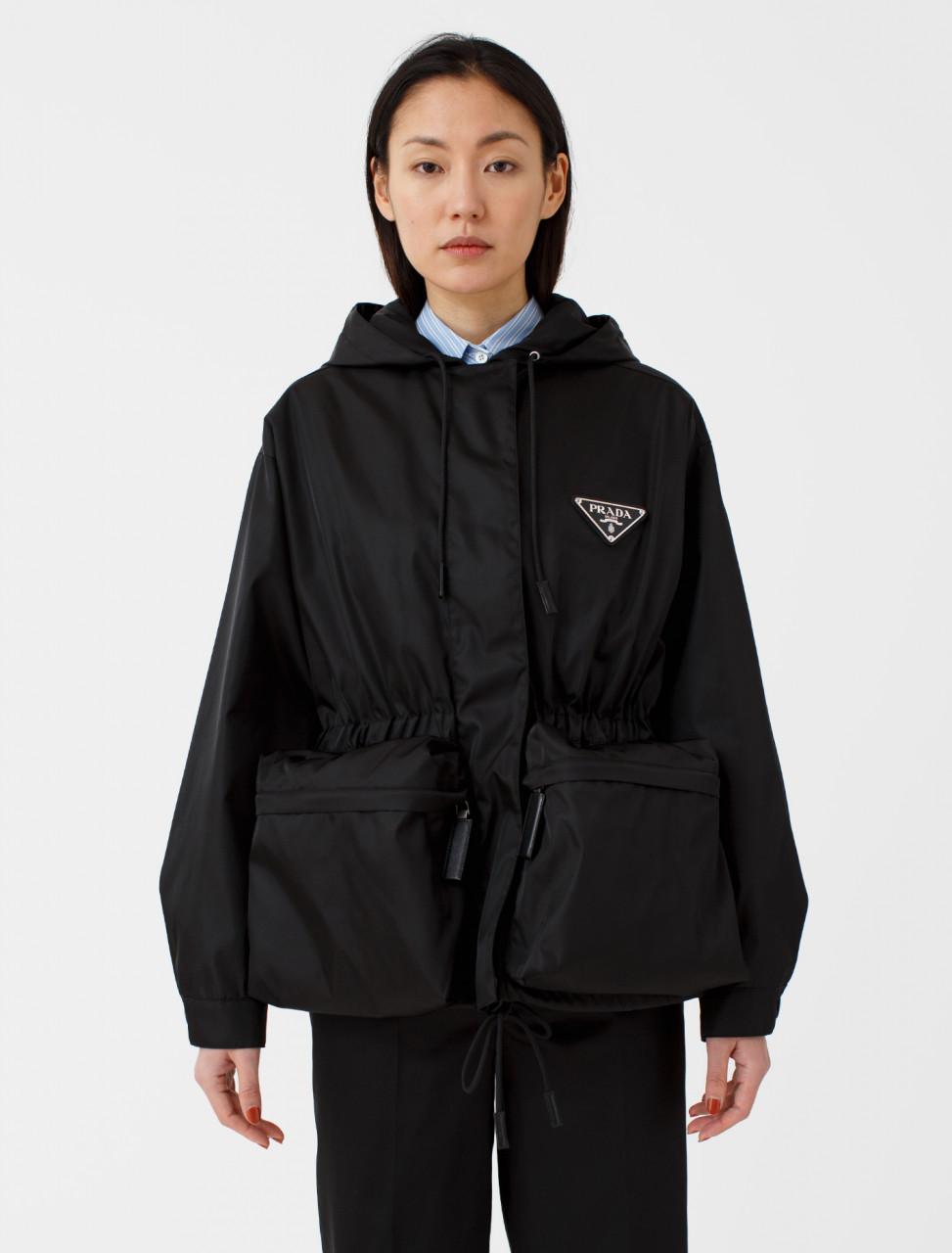Nylon Gabardine Hooded Jacket in Black