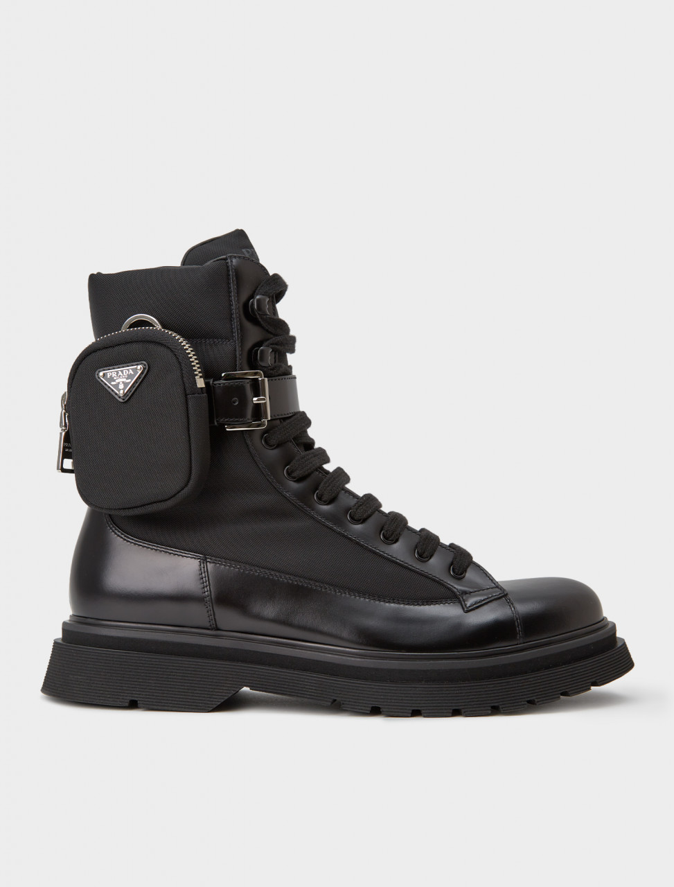 242-2TE169-3KZP-F0002 PRADA Leather Combat Boots with Removable Nylon Pouch