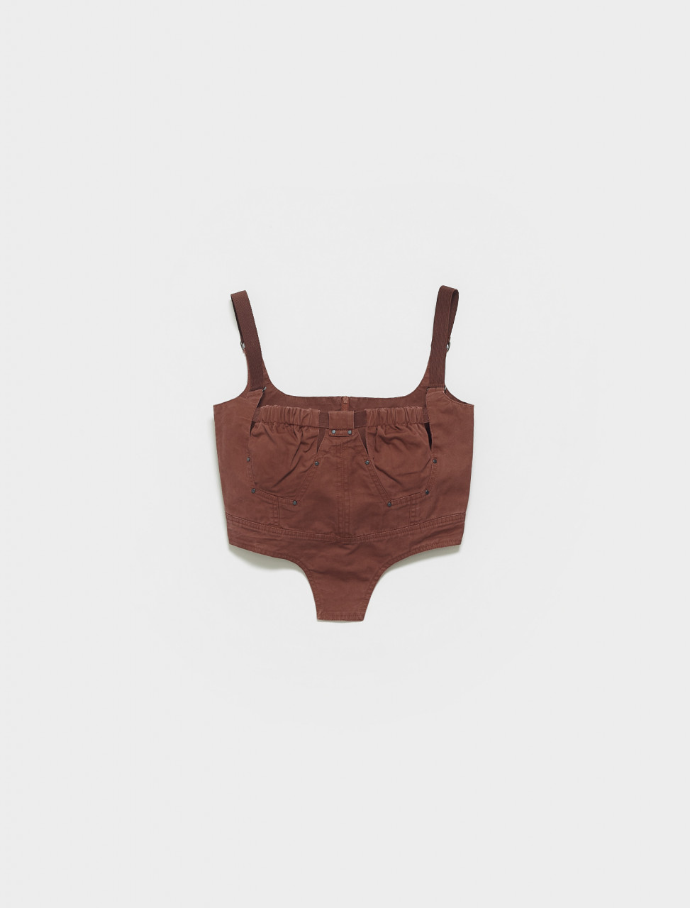 SS21-ANT0PW-PW CHARLOTTE KNOWLES BUSTIER W RIVETED SQUARE CUPS & ELASTIC STRAPS IN PURPLE WASH