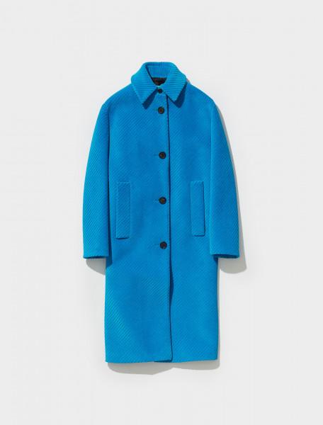 P677O_1Y8A_F0013 PRADA DIAGONAL CORDUROY SINGLE BREASTED COAT IN LIGHT BLUE