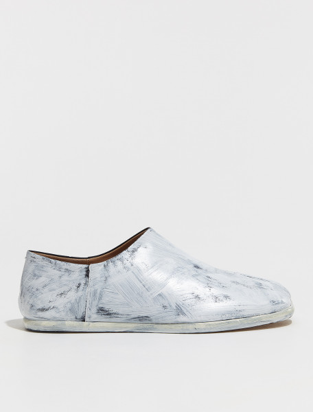 S57WR0051_P4128_H8680 MAISON MARGIELA TABI BABOUCHE SHOES IN PAINTED WHITE