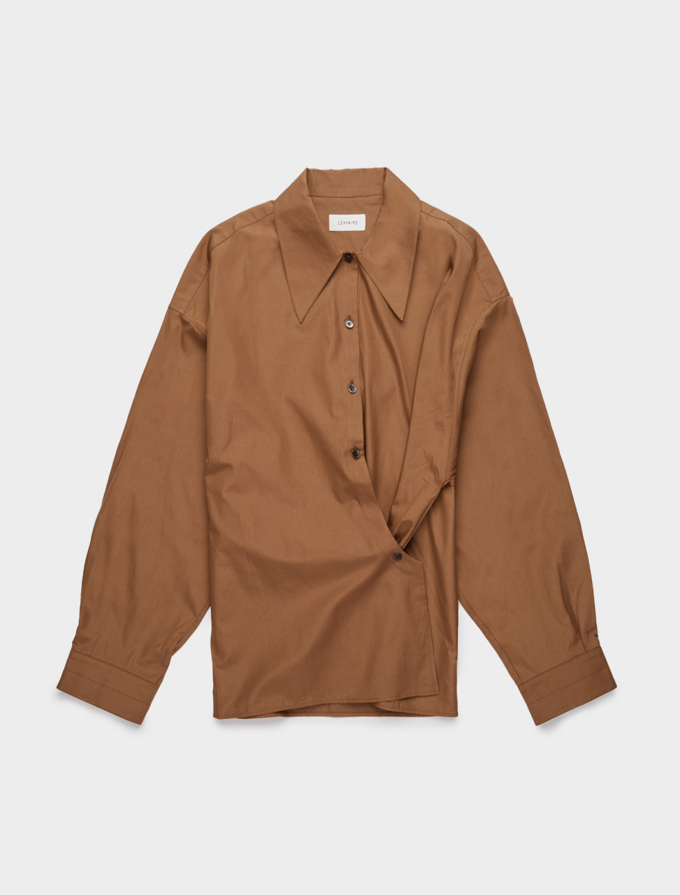 218-W-203-SH254-LF353-420 LEMAIRE TWISTED SHIRT TOBACCO