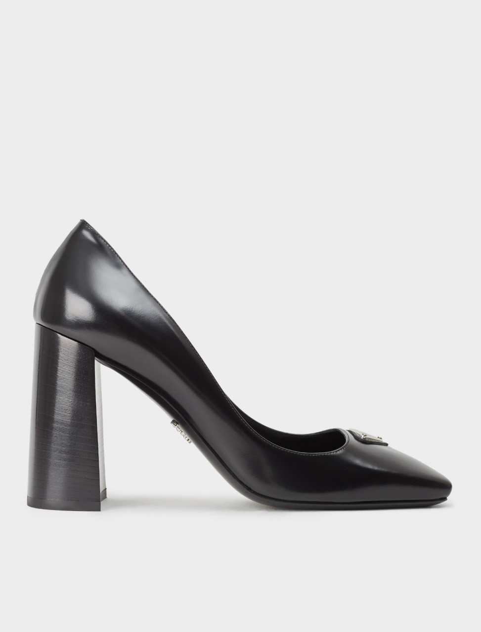 242-1I308M-055-F0002-F-B095 PRADA SQUARE TOE BLOCK HEEL PUMP IN BLACK