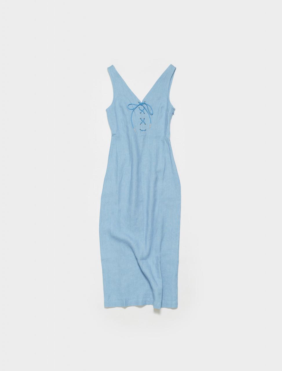 PWM026-120 PALOMA WOOL EMMA LONG LINEN DRESS IN LIGHT BLUE