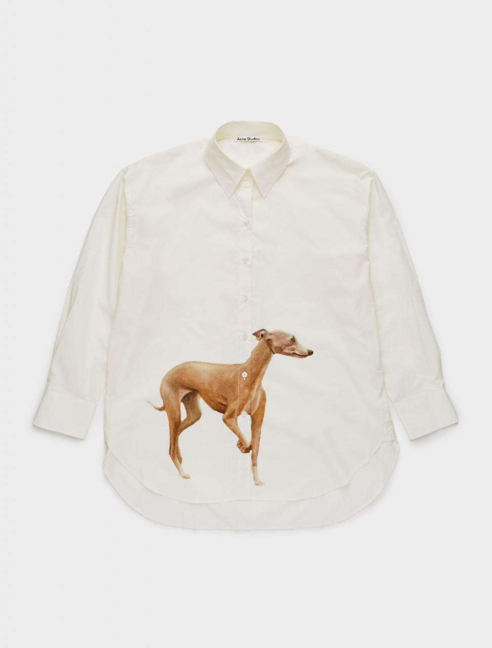 110-AC0314-AO0 ACNE STUDIOS Dog Print Poplin Shirt