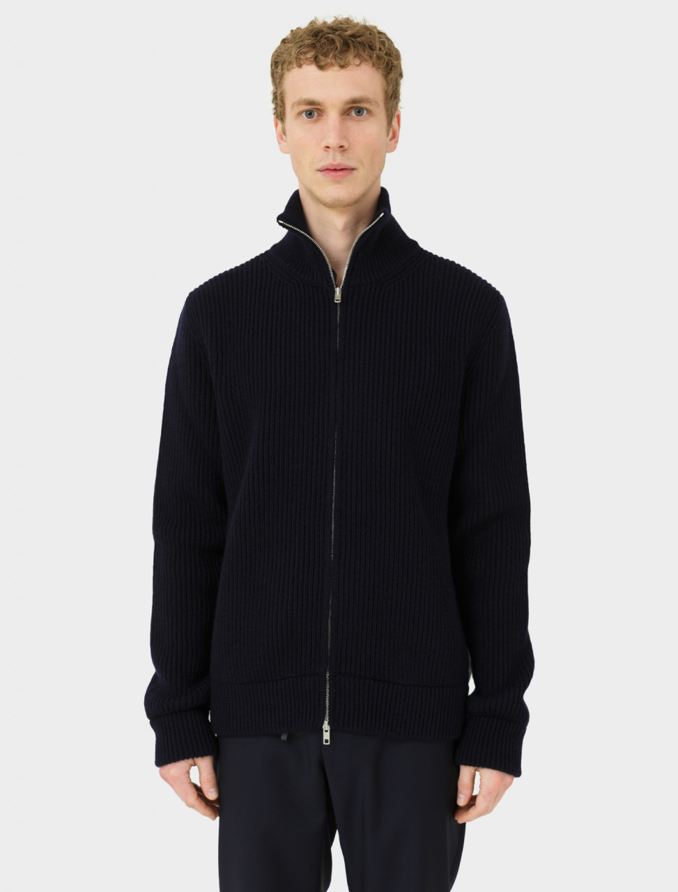 Zip-Up Sweater in Navy