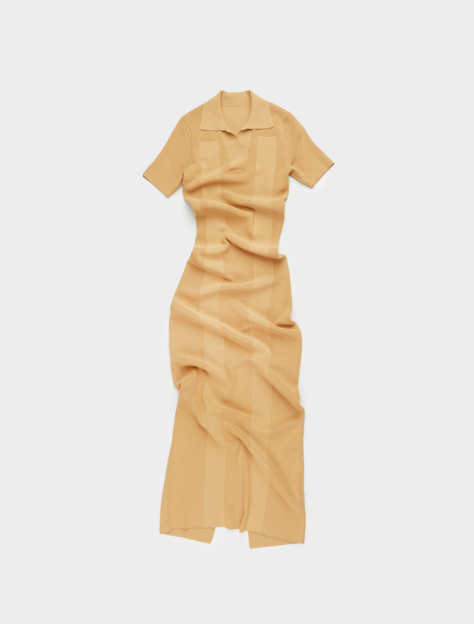 203KN15-203-202290 JACQUEMUS LA ROBE MAILLE POLO IN DARK YELLOW FRONT
