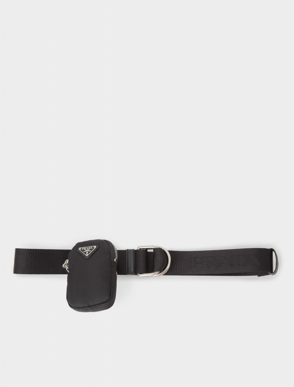 242-1CN073-2DC7-F0002 PRADA Nylon Belt with Pouch in Black