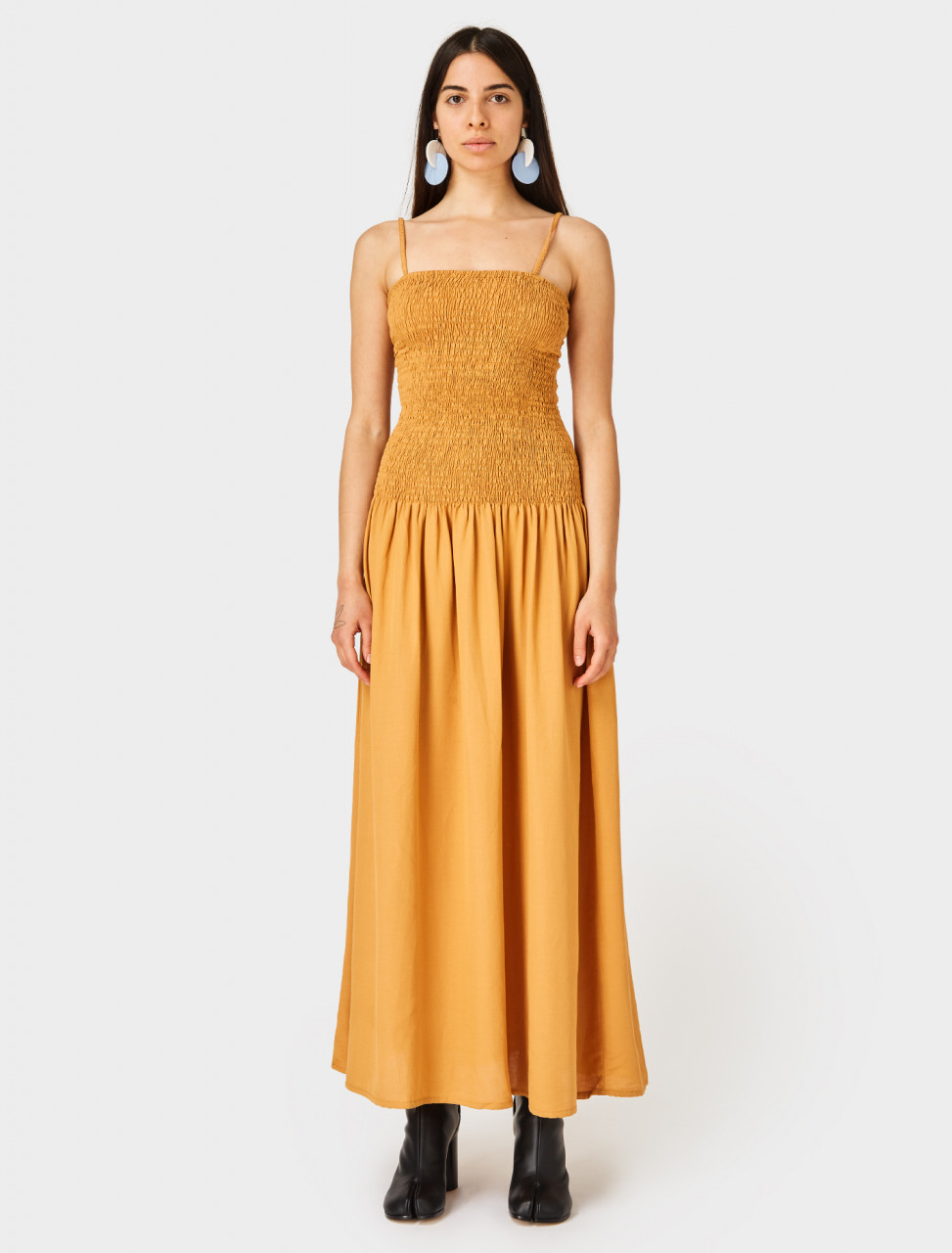 Front view of Paloma Wool Benidorm Maxi Dress in Nude