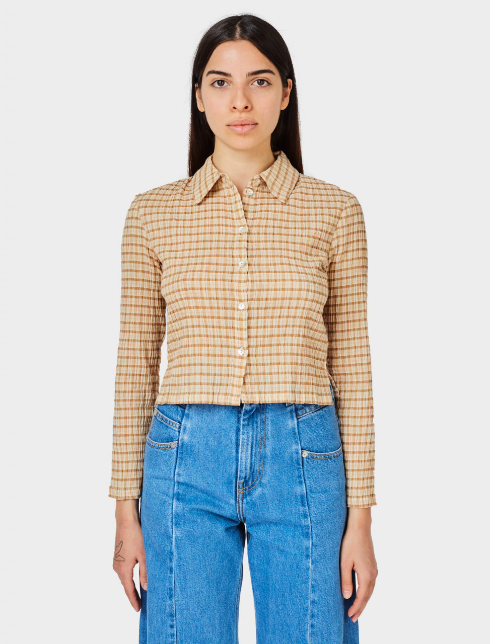 Front view of Paloma Wool Bisbal Shirt in Beige Check