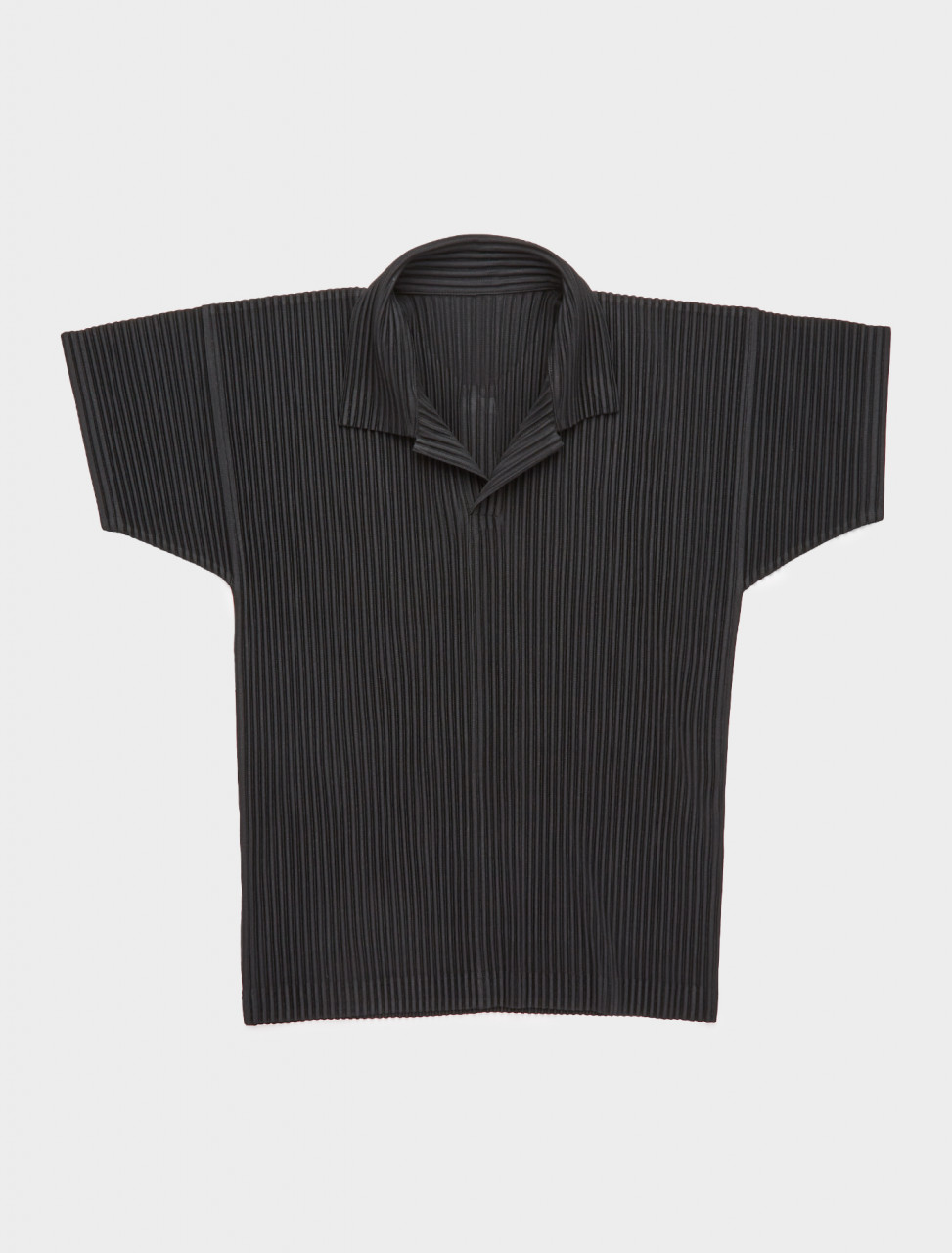 255-HP08JM030-15 ISSEY MIYAKE HOMME PLISSE PLEATED POLO BLACK