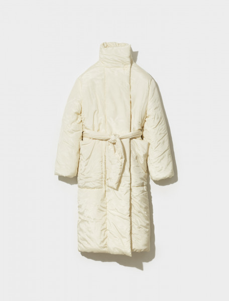 W 213 CO278 LF654 222 LEMAIRE WADDED WRAPOVER COAT IN ALMOND MILK