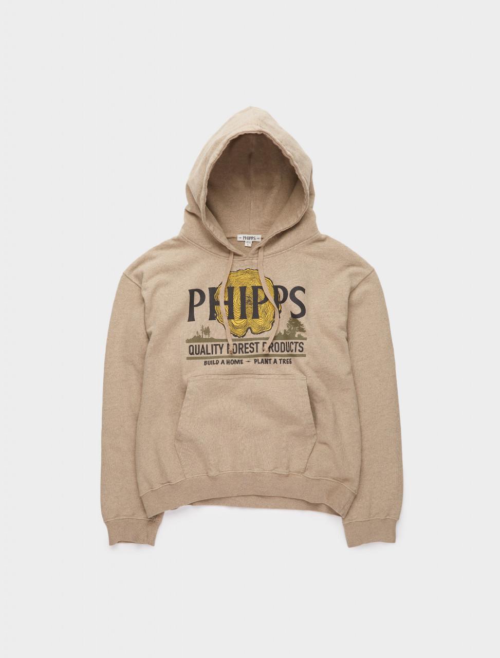 261-PHFW20-N18-B PHIPPS SWEATSHIRT FLEECE LUMBER LOGO HOODIE TAUPE
