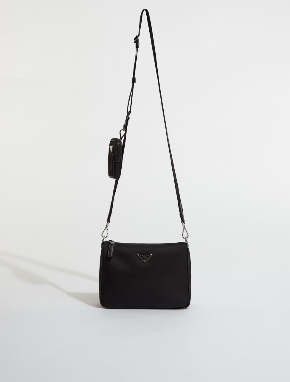2VH113-F0002 PRADA NYLON SAFFIANO LEATHER BAG IN BLACK