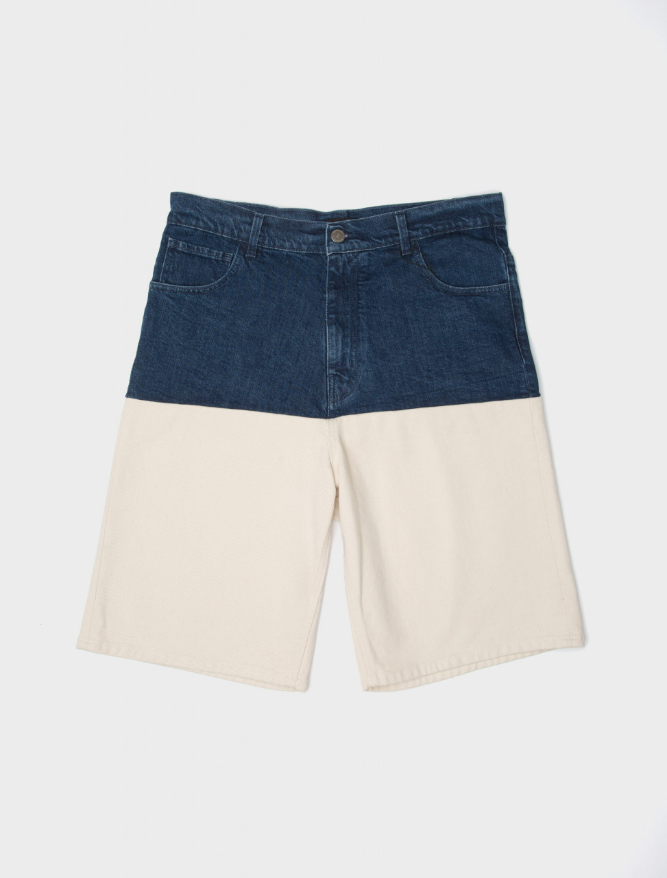 Wide Fit Denim Shorts with Horizontal Cut