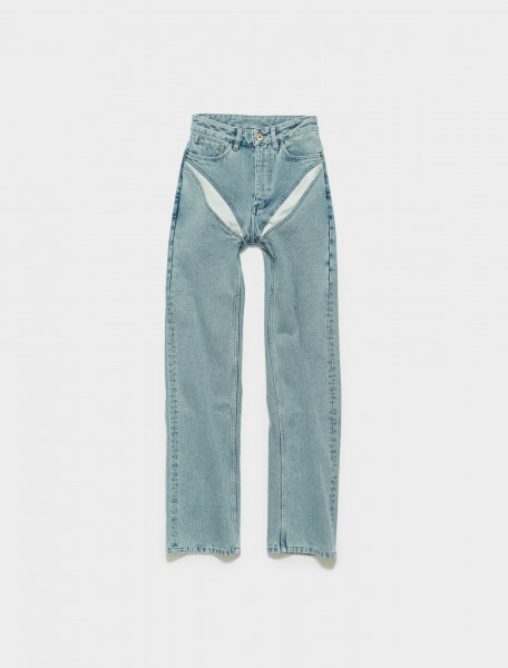 JEAN15-S20 Y PROJECT CLASSIC V CUT OUT JEAN IN ICE BLUE
