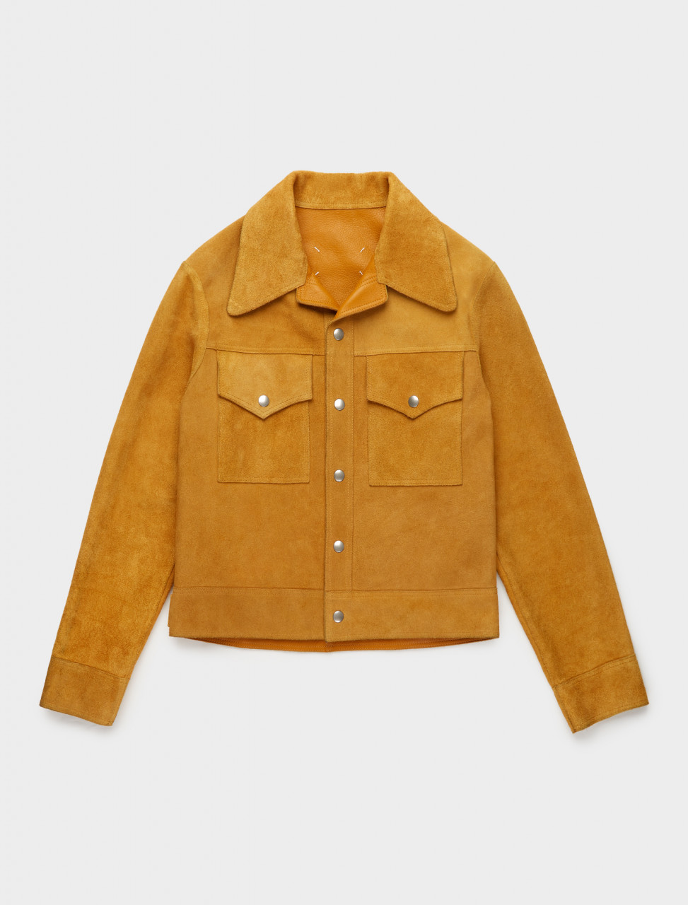 256-S30AM0526-SY1532-165 MAISON MARGIELA REVERSIBLE SUEDE JACKET YELLOW